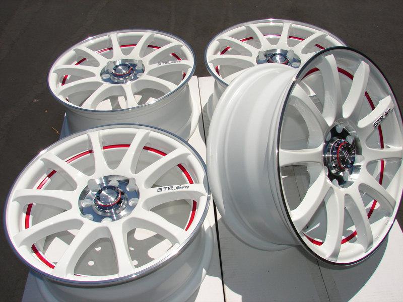 17 4x114 3 4x100 White Neon Effect Wheels Civic Mazda 2