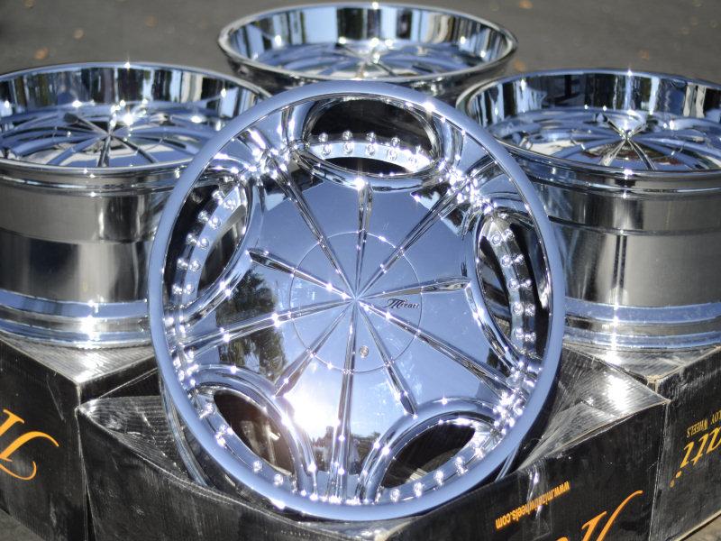 6x139.7 Chrome Mizati Rims Gmc Sierra Denali Nissan Pathfinder Wheels