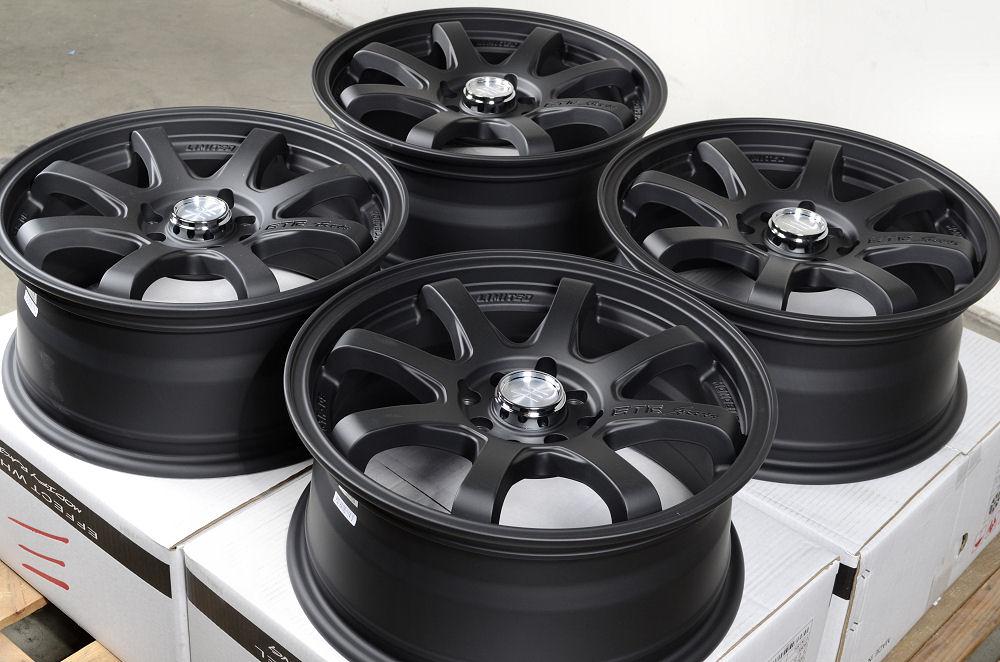 16 4x100 4x114 3 Matte Black Rims Civic Scion XA XB Pontiac G3 G5 Cobalt Wheels