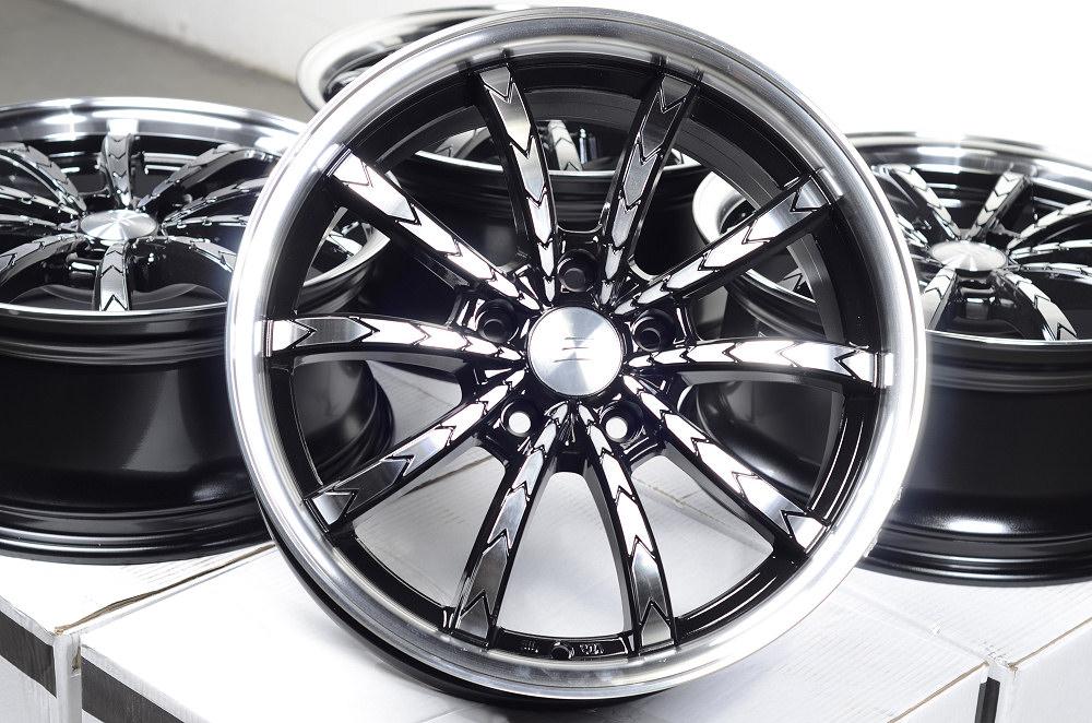 17 5x114 3 Black Rims Lexus Civic Avalon Camry Lancer Mazda 3 6 Infiniti Wheels