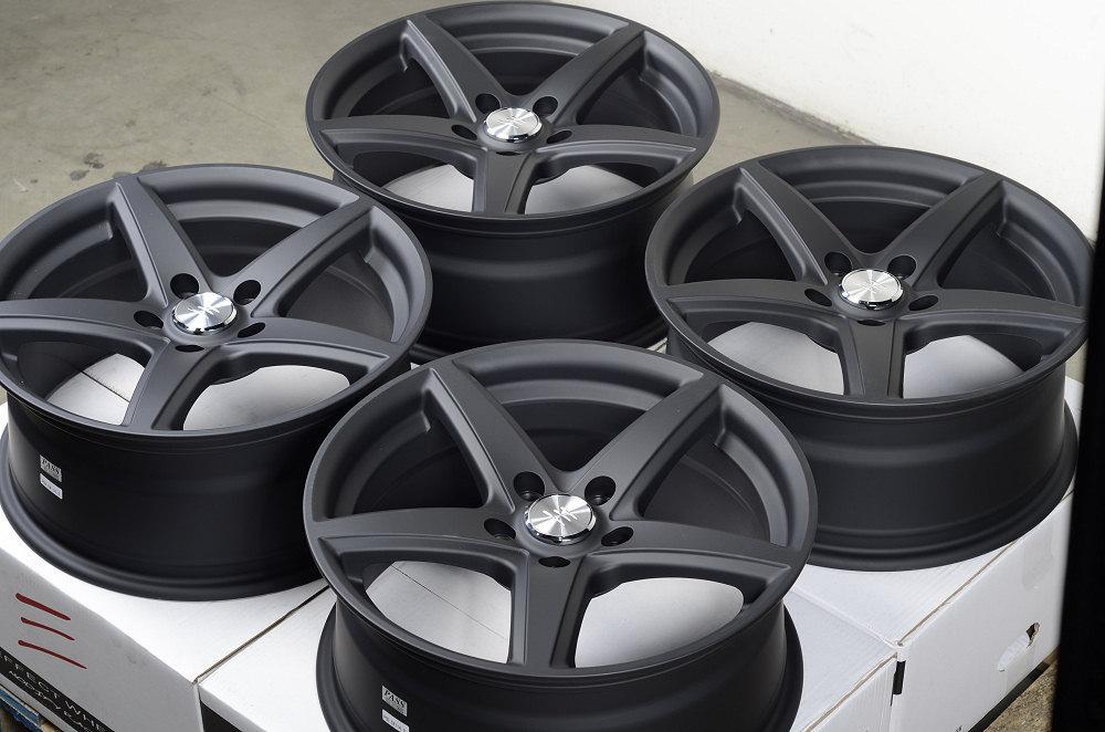 17 5x114 3 Matte Black Wheels Ford Fusion Taurus Mazda 3 5 6 626 mazdaspeed Rims